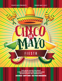 Cinco De Mayo poster design. Marketing, advertising or invitation template with copy space for your holiday celebration at a bar, restaurant, nightclub or other venue. EPS 10 vector.