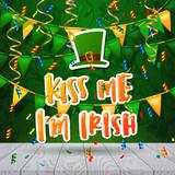 Hand drawn calligraphy Kiss me i`m Irish.  poster Happy St. Patrick
