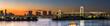 Panorama view of Tokyo city and Rainbow bridge at dusk time , Japan