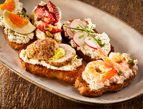Colorful selection of tasty bruschetta