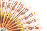 euro currency fan isolated