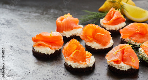 Smoked salmon or lox canapes panorama