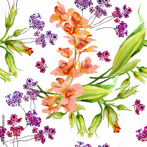 Cotton fabric Flowers orchid with leaves