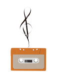 Cassette tape with clef isolated on white background