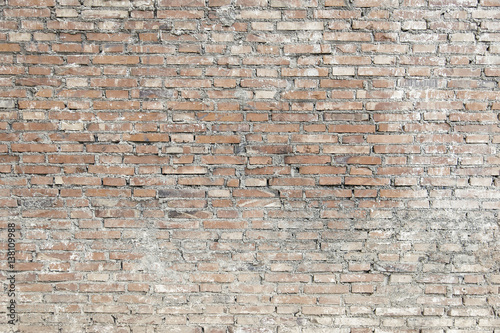 Old brick wall with white paint background texture - 138109988