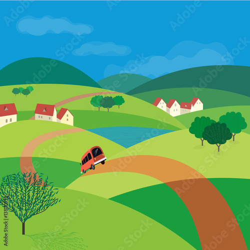 Fotobehang Boerderij Green landscape. Freehand drawn cartoon outdoors style. Farm houses, country winding road on meadows and fields. Rural community. Lake view among hills. Vector village countryside scene background