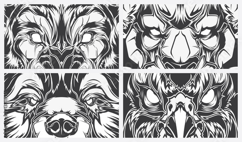 Line Art Animals Tattoo : Eyes dangerous animals tattoo style vector background buy
