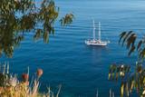 Sailboat on the sea near Elba island, Tuscany, Italy