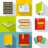 Textbooks icons set, flat style