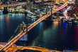 Aerial view of Brooklyn Bridge by night, in New York City