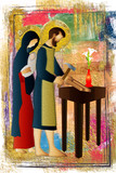 Holy family of Jesus, Mary and St Joseph the worker. Artistic abstract religious design. - 138144564