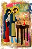 Holy family of Jesus, Mary and St Joseph the worker. Artistic abstract religious design. - 138144575