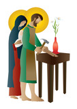Holy family of Jesus, Mary and St Joseph the worker. Artistic abstract religious design. - 138144587