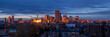 Calgary skyline panorama at sunrise.