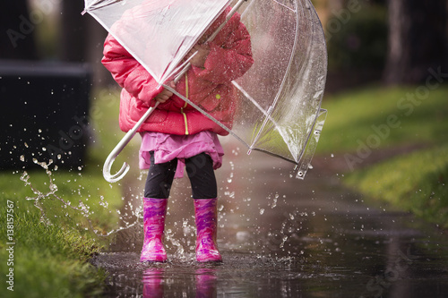 A young girl is playing in the much needed California rain. Poster
