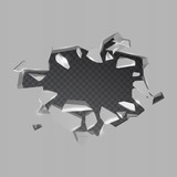 Realistic broken iron and hole on transparent background. Vector illustration. Isolated cracked effect. - 138167754