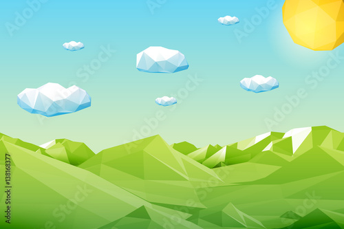 Fototapeta Abstract polygonal green landscape with mountains, hills, clouds and sun. Modern geometric vector illustration.