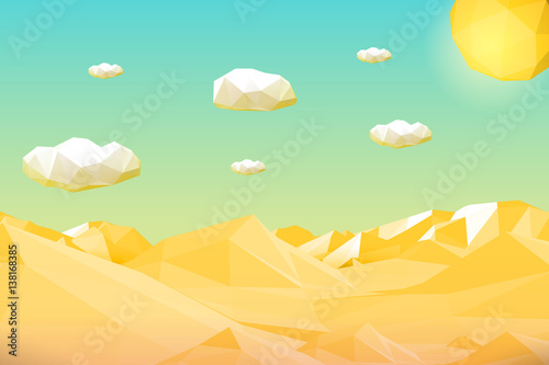 Fotobehang Turkoois Abstract polygonal yellow desert or cliff landscape with mountains, hills, clouds and sun. Modern geometric vector illustration.