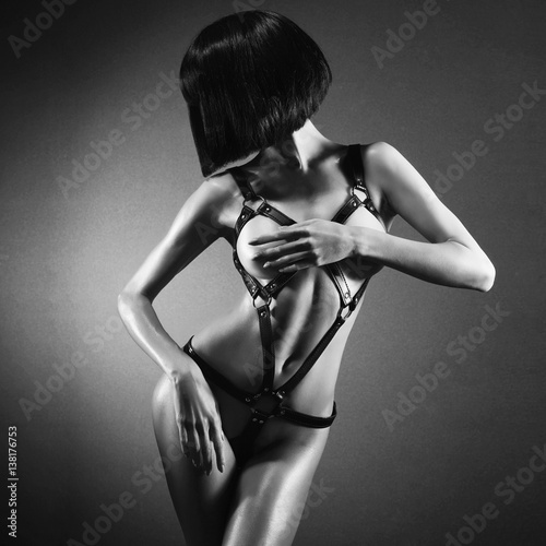 Beautiful nude body of sensuality elegant lady.