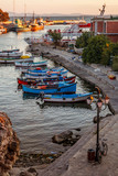 Boats on the dock at sunset in Old Nessebar, Bulgaria.