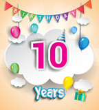 10th Anniversary Celebration Design, with clouds and balloons, confetti. using Paper Art Design Style, Vector template elements for your, ten years birthday celebration party.