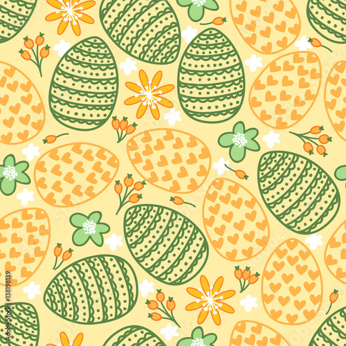 Materiał do szycia Cute seamless pattern with eggs, flowers and hearts. Happy Easter. Holiday background.