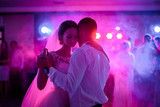 Soft hugs of wedding couple dancing in the first time - 138205915