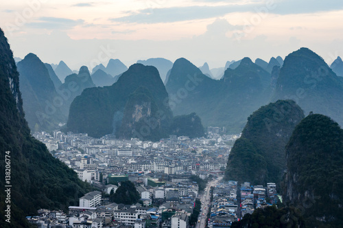 Staande foto Guilin Yangshuo cityscape skyline with Karst mountains in Guangxi Province, China