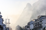 Yangshuo cityscape skyline with Karst mountains in Guangxi Province, China
