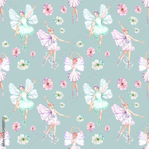 Seamless pattern with watercolor ballet dancers with butterfly wings and flowers, hand drawn isolated on a blue background - 138211752