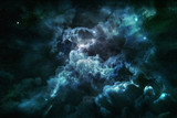Fototapety blue nebula and cosmic dust in starry sky