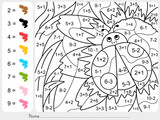 Fototapety Paint color by numbers - addition and subtraction worksheet for education