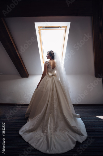 The charming bride stands near window Poster