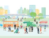 Städtische Straße mit Fußgänger und Autos