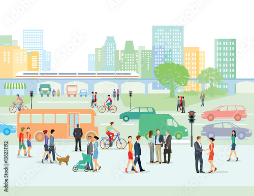 Poster Städtische Straße mit Fußgänger und Autos