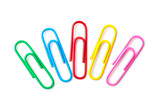 Colored paper clips macro close up isolated on a white background - 138233725