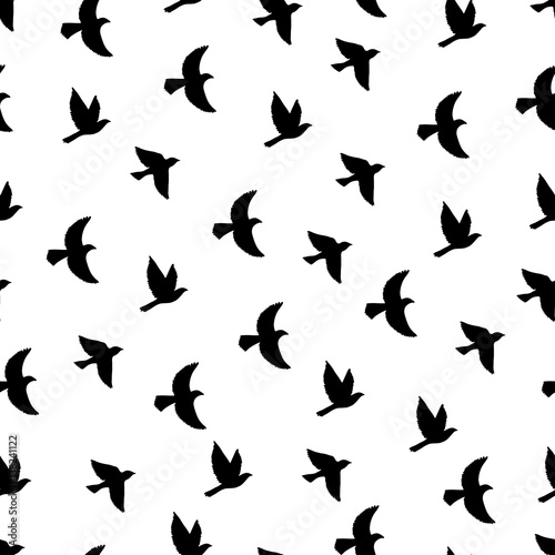 Plagát Flying birds seamless pattern.