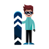 person with snowboard snowboarding icon image vector illustration design