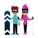 ski snowboard assorted sports people  icon image vector illustration design