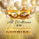 Carnival Party Mask Holiday Poster Background. Vector Illustrati