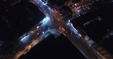 Night aerial fly over shot of junction at Pattaya City, Thailand