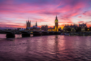 Houses of Parliament, Big Ben and Westminster at sunset.