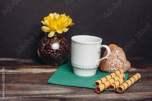 yellow flower, Light mug, straws and cake © ageevphoto