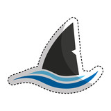 shark silhouette alert icon vector illustration design