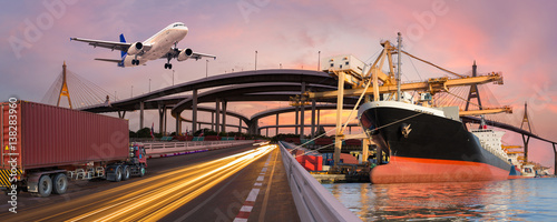 Foto auf Acrylglas See sonnenuntergang Panorama transport and logistic concept by truck boat plane for logistic Import export background