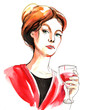 Lady with a glass of red wine