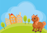Vector childrens background with the image of a rural landscape and a ridiculous horse