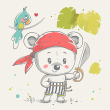 Cute little bear pirate cartoon hand drawn vector illustration. Can be used for baby t-shirt print, fashion print design, kids wear, baby shower celebration greeting and invitation card