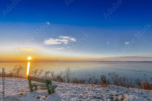 Winter landscape by the lake Balaton, Hungary, Europe Poster