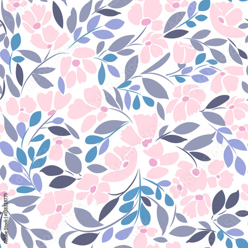 Cotton fabric Seamless pattern with floral print in soft pink and gray shades of blue on a white background.